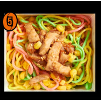 Colored noodles w/o vegetables with chicken and corn in teryaki sauce