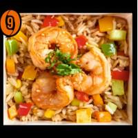 Rice with shrimps in dausan sauce