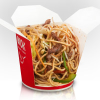 Whole wheat noodles with beef in kung pao sauce