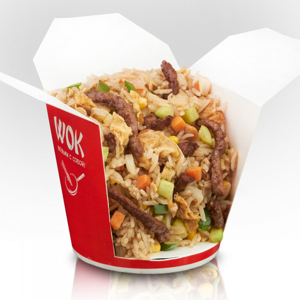 Rice with beef in kung pao sauce
